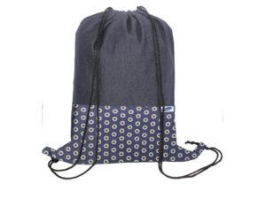 Shweshwe and Denim Drawstring Bag